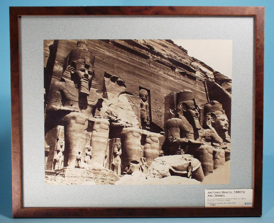 Antique Print, Antonio Beato, 1860's: Abu Simbel