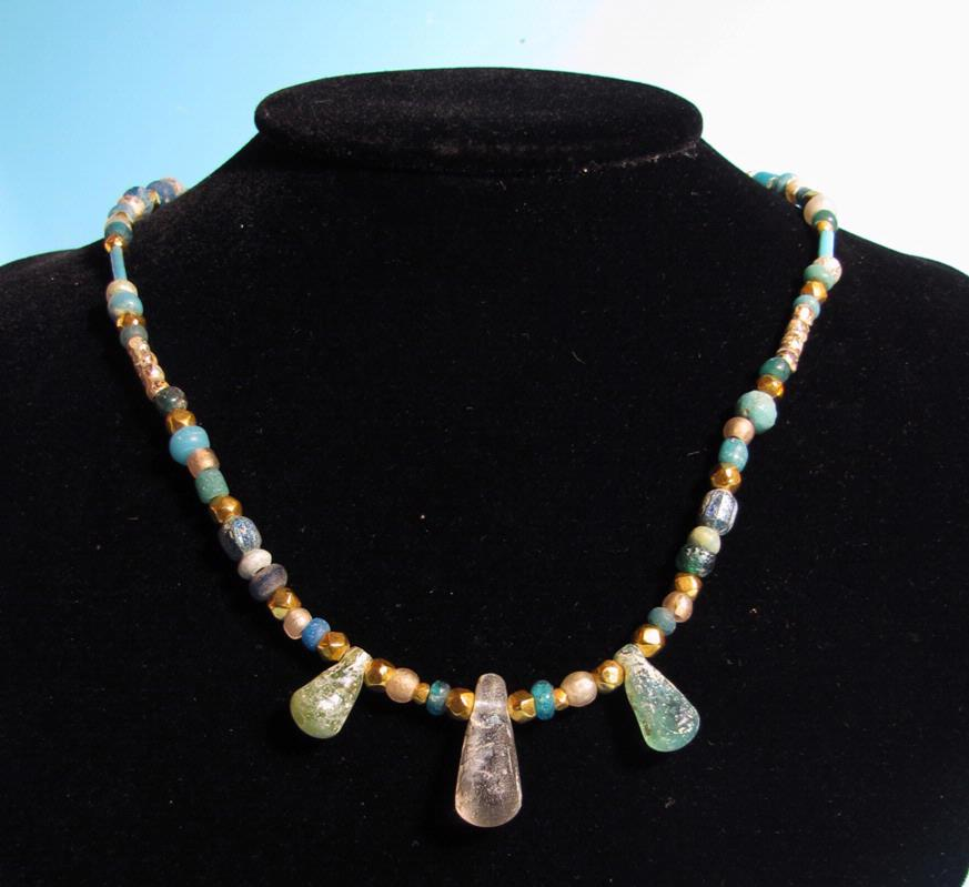 Roman Blue Glass Bead Necklace