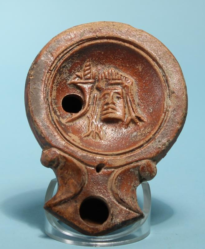Roman Oil Lamp: Theater Mask