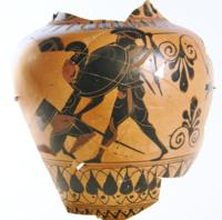 Attic Greek Black-Figure Amphora Fragment