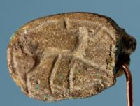 Egyptian Inscribed Scarab: Horned Animal