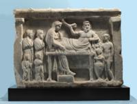 Greek Marble Relief with a Banquet Scene