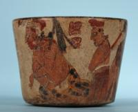 Maya Polychrome Vase with Two Priests