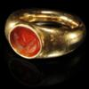 Greek Carnelian Portrait Intaglio in Gold Ring
