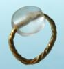 Gold Ring with Rock Crystal Bead