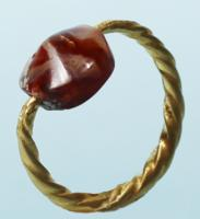 Gold Ring with Agate Bead