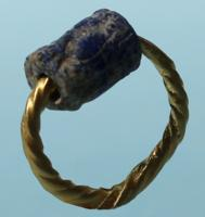Gold Ring with Lapis Lazuli Cylinder Seal