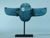 Egyptian Blue Faience Winged Scarab